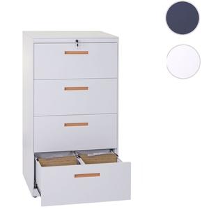 Hängeregisterschrank HWC-A10, Aktenschrank Büroschrank Stahlschrank, A4 abschließbar ~ 132x76x46cm weiß