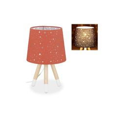 relaxdays Tischleuchte Tischlampe Kinderzimmer Sterne rot