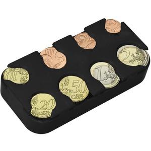 kwmobile Münzbox für Euro Münzen - 8 Fächer von 1 Cent bis 2 Euro - Münzhalter Münzsammler - Münzspender Sortierer in Schwarz