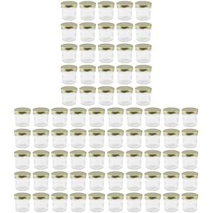 WELLGRO® Einmachgläser mit Schraubdeckel - 72 ml, 5,5 x 5,5 cm (ØxH), Glas/Metall, goldenefarbene Deckel, Gläser Made in Germany, verschiedene Mengen wählbar, Stückzahl:75 Stück