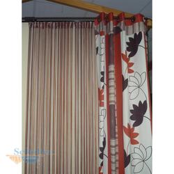 Musterfenster Vorhang Schal Flächenvorhang creme orange braun, fertig genäht