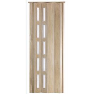 Falttür Schiebetür Kunststofftür Sonoma Eiche hell farben Fenster Höhe 202 cm Einbaubreite bis 94 cm Doppelwandprofil Neu