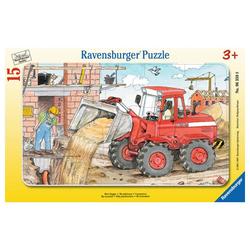 Ravensburger Rahmenpuzzle Mein Bagger - Rahmenpuzzle, 15 Puzzleteile bunt