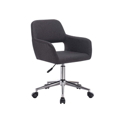 Woltu Chefsessel Bürostuhl mit Armlehne aus Leinen grau