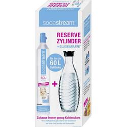 Sodastream CO2 Reserve-Zylinder 1100065490 Glasklar inkl. 1 Glaskaraffe, und 1 CO2-Zylinder