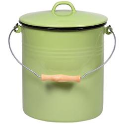 Krüger Mülleimer, Metallbügel mit Holzgriff grün Mülleimer Küchenhelfer Haushaltswaren