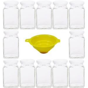 Viva Haushaltswaren - 12 x eckiges Marmeladenglas / Gewürzglas 260 ml mit weißem Schraubverschluss, Gläser Set mit Deckel als Einmachgläser, Vorratsdose etc. verwendbar (inkl. Trichter)