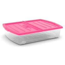 KIS Spinning Box Unterbettbox XL, Unterbettbox mit Rollen, Farbe: fuchsia-transluzent-transparent