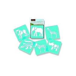 Mal-Schablonen 6er-Set Tiere Savanne