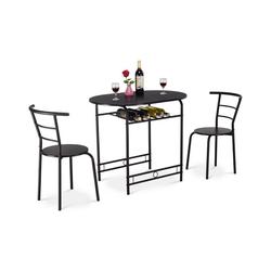 COSTWAY Sitzgruppe Sitzgruppe, (3-tlg), 3tlg. Sitzgruppe Küche, Esstisch mit 2 Stühlen, Balkonset schwarz