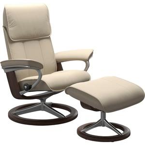 Stressless® Relaxsessel Admiral (Set, Relaxsessel mit Hocker), mit Hocker, mit Signature Base, Größe M & L, Gestell Wenge natur 84 cm x 110 cm x 73 cm