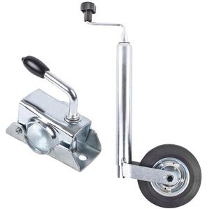 ProPlus Stützrad Anhänger 48 mm Vollgummirad Metallfelge Stützlast statisch 150 Kg inkl Klemmschelle 48 mm für Wohnwagen, Wohnmobil und Anhänger