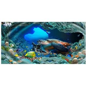 Strandtuch Microfaser Groß 3D Muster XL XXL Frottee Kinder Teenager Mädchen Jungen Bunt Delfin Schildkröte Fisch Motiv Handtuch Badetuch Stranddecke Surfen Schwimmen Kuscheldecke Blau (100x200 cm,B)