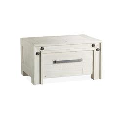 Schubladen-Nachttisch Akazie weiß im Industrial Style - Caldera