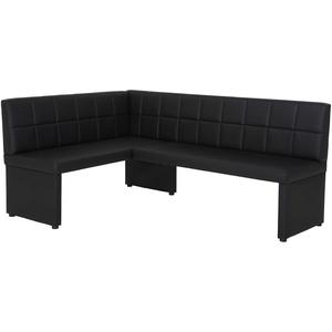 Eckbank Magda I langer Schenkel rechts, Bezug Kunstleder Schwarz mit Rückenlehne, Gestell aus Holz gepolstert, 140x200x90cm