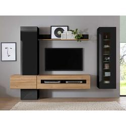 Fernseher Wohnwand in Schwarz Hochglanz und Wildeiche Optik 230 cm breit (6-teilig)