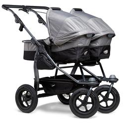 tfk Zwillings-Kombikinderwagen duo, Zwillingskinderwagen; Kinderwagen für Zwillinge; Zwillingswagen grau