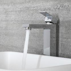 1-Loch Waschtisch-Armatur für Aufsatzwaschbecken Chrom - Kubix, von Hudson Reed