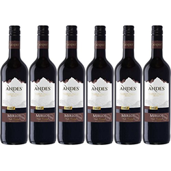 Andes Merlot Qualitätswein trockener Rotwein aus Chile 4500ml, 6er Pack
