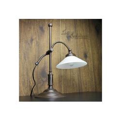 Licht-Erlebnisse Schreibtischlampe SOFIA Tischlampe aus Messing Braun E14 Glas Schreibtisch Wohnzimmer