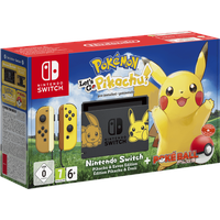 Nintendo Switch grau / braun / gelb + Pokemon: Let's Go, Pikachu! (Bundle)