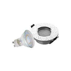 SEBSON LED Einbaustrahler Einbaustrahler Bad IP44 Alu Chrom inkl. GU10 LED Lampe 3,5W - Unterputz Decken Einbau Rahmen rund Lochdurchmesser 65mm