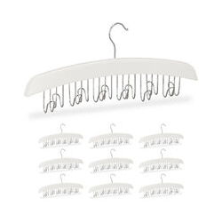 10 x Gürtelhalter Kleiderschrank, Haken für 12 Gürtel, 360° drehbarer Haken, Lotusholz, 17,5x43x5,5