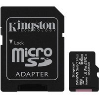 Kingston microSDXC Canvas Select Plus 64GB Class 10 UHS-I A1 V10 + SD-Adapter