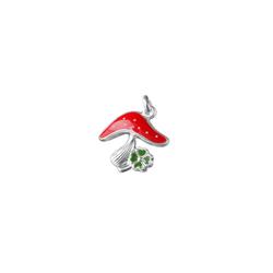 Gallay Kettenanhänger Anhänger 15x15mm Fliegenpilz grün-rot Silber 925