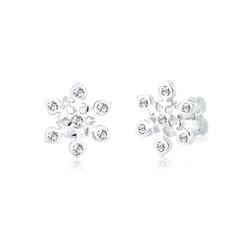 Elli Paar Ohrstecker Schneeflocke Weihnachten Swarovski® Kristalle Silber, Schneeflocke