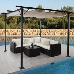 Pergola MCW-C42, Garten Pavillon, stabiles 6cm-Gestell + Schiebedach ~ 3,5x3,5m creme