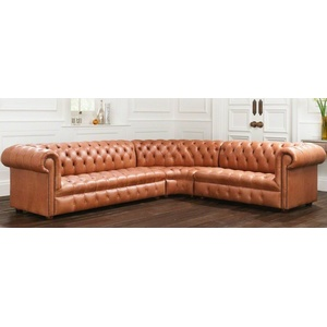 Wohnlandschaft Ecksofa Chesterfield Leder Ecksofa Couch Polster Ecke 16101328