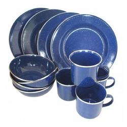 A. Blöchl Geschirr-Set Essgeschirr Emaille blau neu (12-tlg. / 4 Personen), Emaille blau