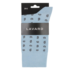 Lavard Himmelblaue Socken mit braunen Mustern 73079  39-41