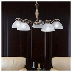 etc-shop Kronleuchter, Hänge Lampe Kronleuchter Ess Zimmer Glas Messing Pendel Decken Leuchte im Set inkl. LED Leuchtmittel
