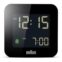 Braun Bc-08-B Digital-Wecker für Reisen, LCD-Display, Snooze-Funktion, Hintergrundbeleuchtung, Mattschwarz