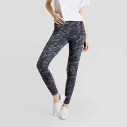 Hue Studio Women's Camo Print Mid-Rise Cotton Comfort Cell Phone Side Pocket Leggings - Gray XL