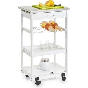 Zeller Küchenwagen 13772, mit Rollen, weiß, mit Edelstahltop, 47 x 82 x 37cm, aus Holz
