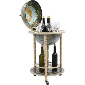 Tidyard Globus-Bar mit Flaschenregal Weinregal Rollen Minibar Weltkugel Hausbar Cocktailbar Dekobar Eukalyptusholz Blau