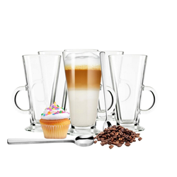 Sendez Glas 6 Latte Macchiato Gläser auf Fuß und 6 Edelstahl-Löffeln Kaffeegläser Teeglas