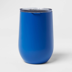11oz Stainless Steel Vacuum Wine Tumbler with SAN Slide Lid Solid Matte Blue Dolphin - Room Essentials