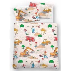 Kinderbettwäsche Bauarbeiter, Biberna, mit Baggern 1 St. x 100 cm x 135 cm
