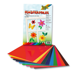 Fenstersticker Fensterfolien, 10 Bogen, farbig sortiert, Folia