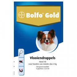 Bolfo Gold 40 hond vlooiendruppels  2 x 4 pipetten