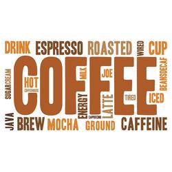 dekodino Wandtattoo Kaffee Schriftzug mit Kaffeesorten (1 Stück) 160.00 cm x 88.00 cm