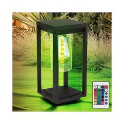 Lámpara base de jardín control remoto negro decoración de jardín soporte lámpara exterior cuadrado