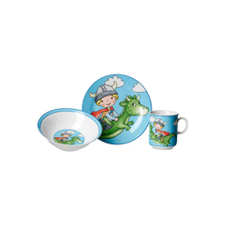 Ritzenhoff & Breker Kindergeschirr-Set DRACHE Kindergeschirr Set 3-teilig blau (3-tlg), Porzellan