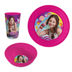 Disney Soy Luna Kindergeschirr-Set Kinder Mädchen Geschirr-Set Teller Schale Becher (3-tlg), Geschenk-Set