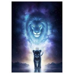 kueatily Kreativset 5D Diamant Malerei DIY Tiere Diamant Malerei Kits Komplett Strass Stickerei Kristall Strass Malerei Löwe Katze für Erwachsene, Haus, Wand und Eingangsdekoration 30 x 40 cm blau