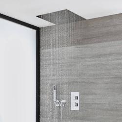 Unterputz-Duschsystem mit Thermostat, 40cm x 40cm Unterputz-Duschkopf und Handbrauseset – Chrom – Kubix, von Hudson Reed